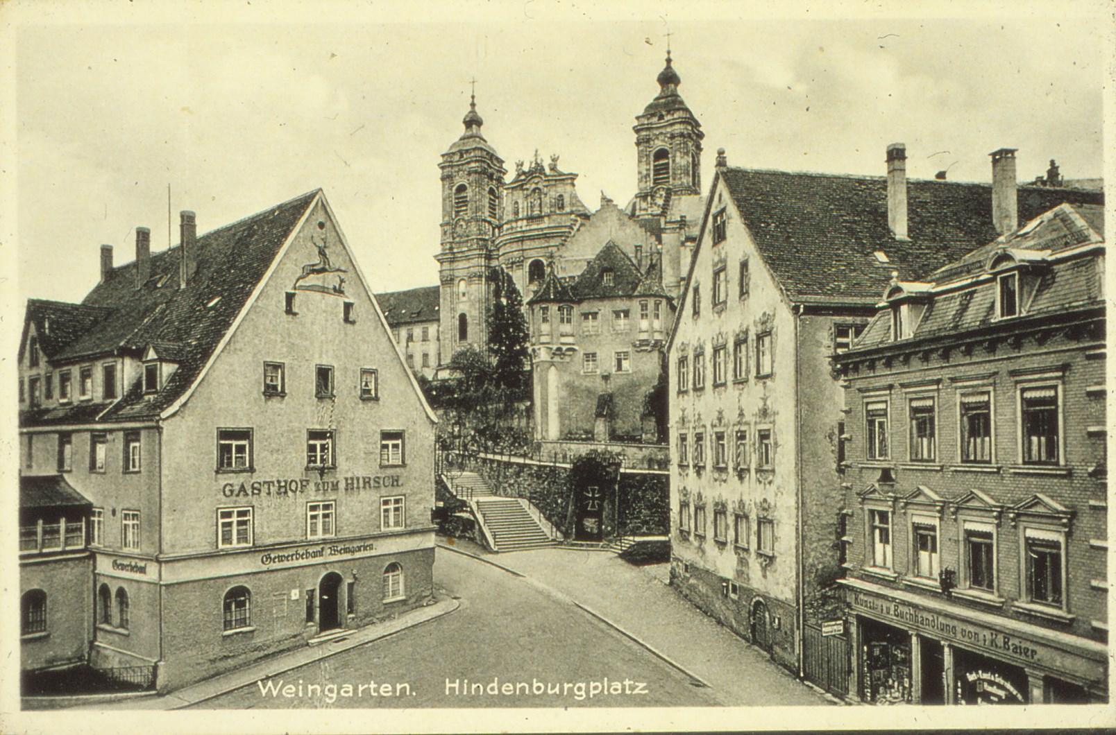 """Die damalige Gewerbebank Weingarten im Gebäude vom """"Gasthof zum Hirschen"""""""